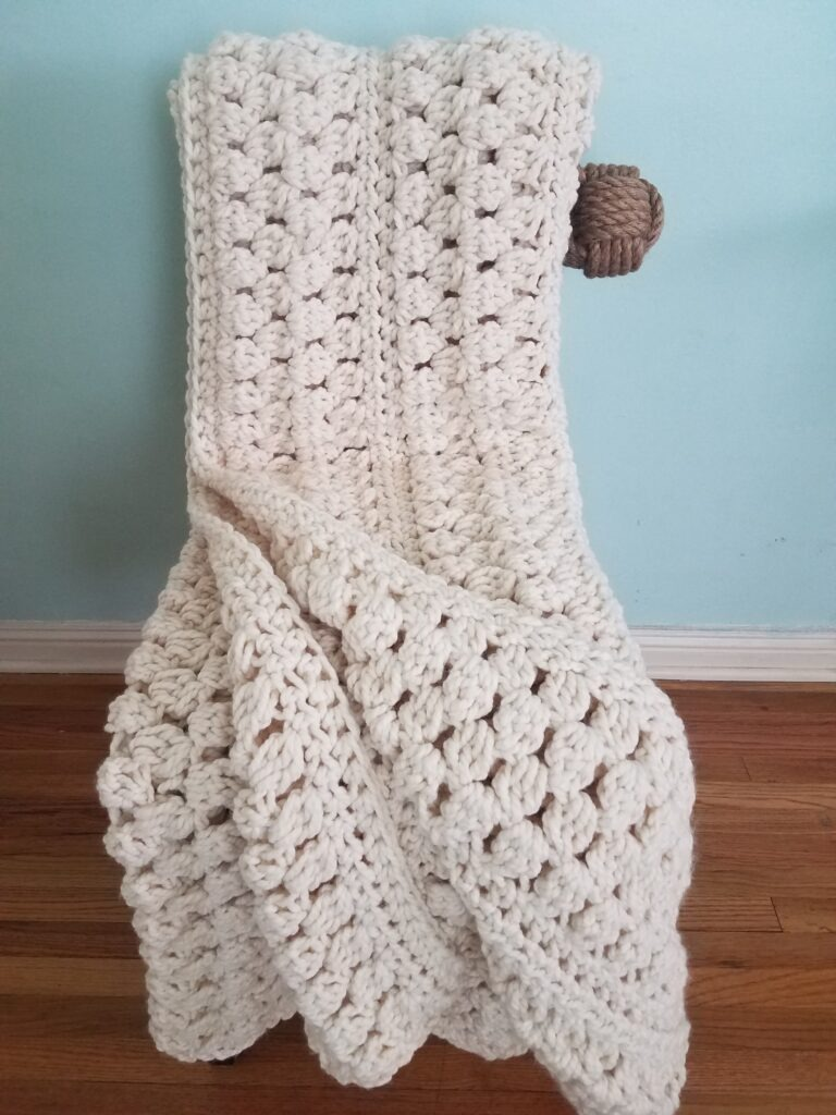 Pike Market Bobble Afghan Crochet Blanket Pattern - by Kind of Knit