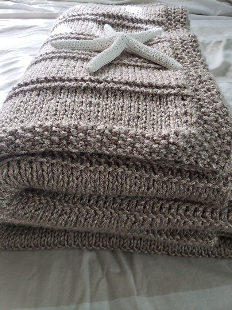 Sandy Shores Knitted Blanket - design by Kind Of Knit
